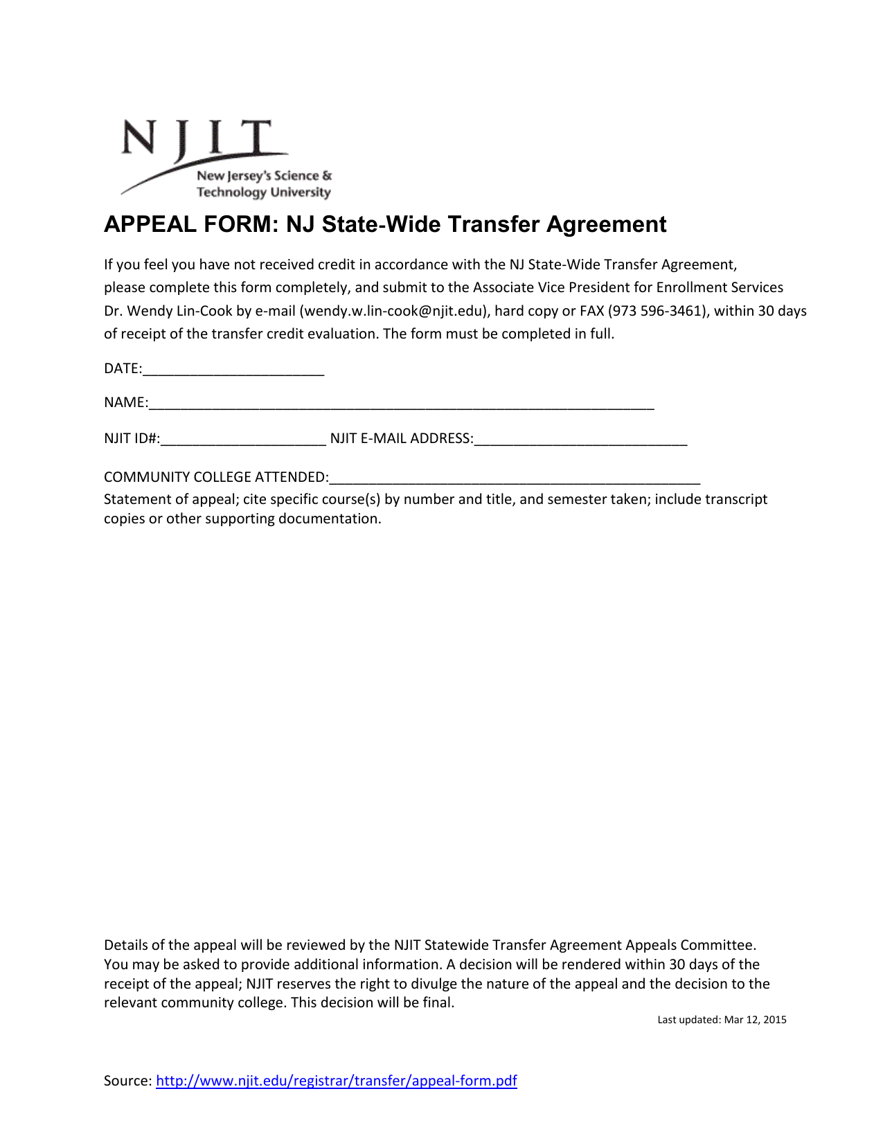 Appeal Form Nj State Wide Transfer Agreement