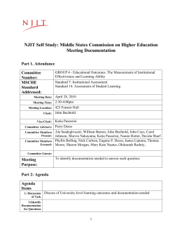 NJIT Self Study: Middle States Commission on Higher Education Meeting Documentation Committee