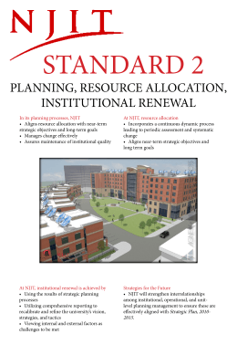 STANDARD 2 PLANNING, RESOURCE ALLOCATION, INSTITUTIONAL RENEWAL