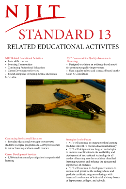STANDARD 13 RELATED EDUCATIONAL ACTIVITES NJIT	Framework	for	Quality	Assurance	in ELearning