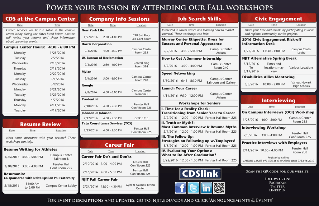 Power your passion by attending our Fall workshops Company