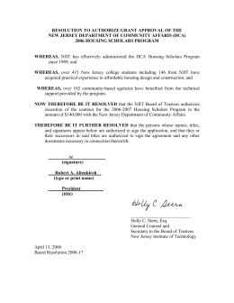 RESOLUTION TO AUTHORIZE GRANT APPROVAL OF THE 2006 HOUSING SCHOLARS PROGRAM