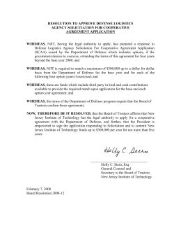 RESOLUTION TO APPROVE DEFENSE LOGISTICS AGENCY SOLICITATION FOR COOPERATIVE AGREEMENT APPLICATION