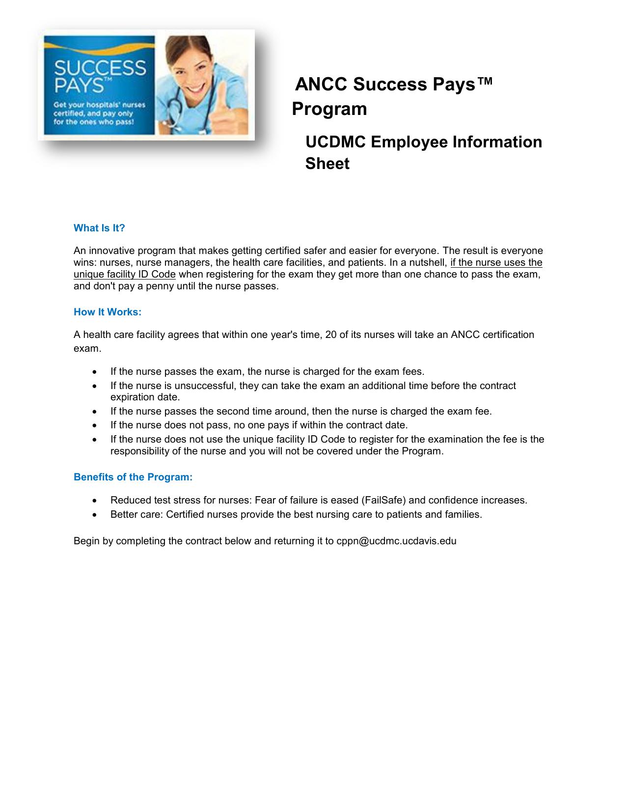 ancc success pays™ program ucdmc employee information sheet