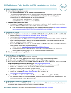 NIH Public Access Policy Checklist for CTSC Investigators and Scholars  1