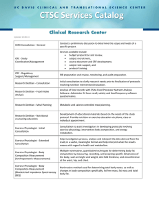 CTSC Services Catalog  Clinical Research Center