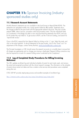 Sponsor Invoicing (industry- sponsored studies only) CHAPTER 11: 11.1 Research Account Statements