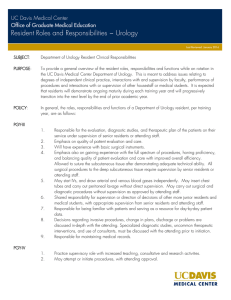 Resident Roles and Responsibilities ~ Urology UC Davis Medical Center