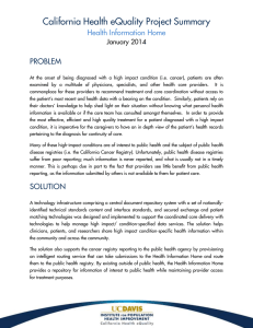 California Health eQuality Project Summary Health Information Home  PROBLEM