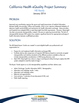 California Health eQuality Project Summary HIE Ready PROBLEM January 2014