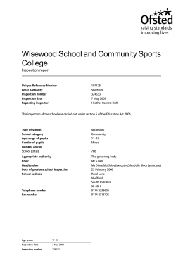 Wisewood School and Community Sports College Inspection report