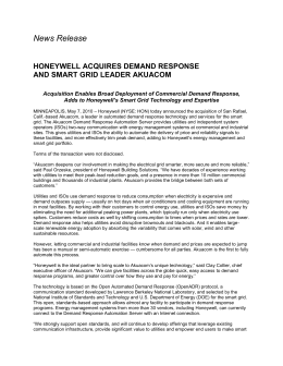 News Release  HONEYWELL ACQUIRES DEMAND RESPONSE AND SMART GRID LEADER AKUACOM