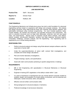 SIMPSON GUMPERTZ & HEGER INC.  JOB DESCRIPTION Position/Title