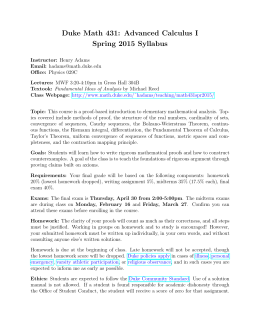 Duke Math 431: Advanced Calculus I Spring 2015 Syllabus