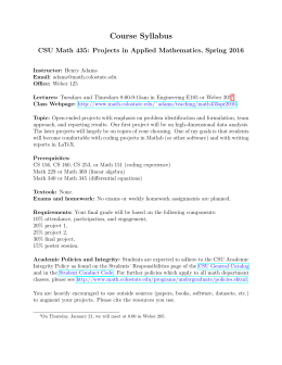 Course Syllabus CSU Math 435: Projects in Applied Mathematics, Spring 2016