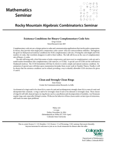 Mathematics Seminar Rocky Mountain Algebraic Combinatorics Seminar
