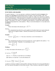 MPE Review Section III: Logarithmic & Exponential Functions