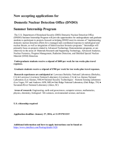 Now accepting applications for Domestic Nuclear Detection Office (DNDO) Summer Internship Program