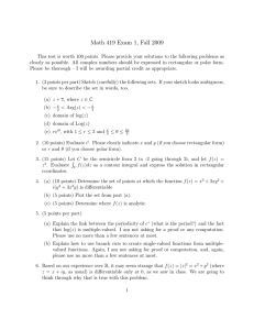 Math 419 Exam 1, Fall 2009