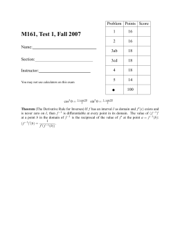 M161, Test 1, Fall 2007 ∑ Problem Points Score 1