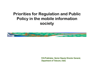 Priorities for Regulation and Public Policy in the mobile information society