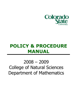 POLICY & PROCEDURE MANUAL 2008 – 2009