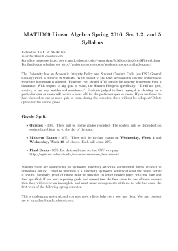 MATH369 Linear Algebra Spring 2016, Sec 1,2, and 5 Syllabus