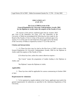 Legal Notice 263 of 2005 – Malta Government Gazette No....  EDUCATION ACT (CAP. 327)