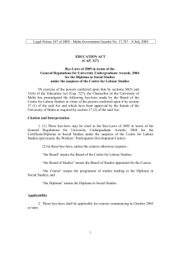 Legal Notice 247 of 2005 - Malta Government Gazette No.... EDUCATION ACT (CAP. 327)