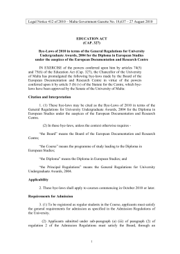 Legal Notice 412 of 2010 – Malta Government Gazette No....  EDUCATION ACT (CAP. 327)