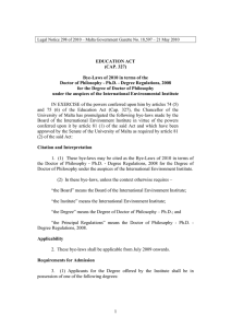EDUCATION ACT (CAP. 327) Bye-Laws of 2010 in terms of the