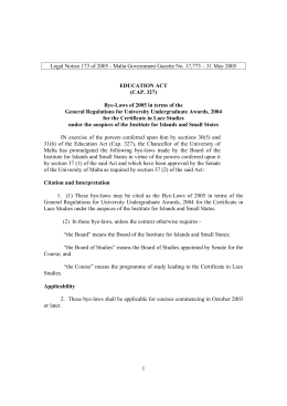 Legal Notice 173 of 2005 - Malta Government Gazette No.... EDUCATION ACT (CAP. 327)
