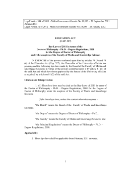 Legal Notice 394 of 2011 - Malta Government Gazette No.18,812 –... Amended by: