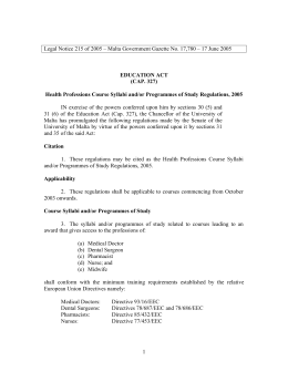 Legal Notice 215 of 2005 – Malta Government Gazette No....  EDUCATION ACT (CAP. 327)