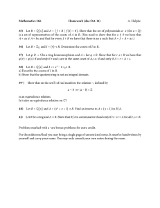Mathematics 366 Homework (due Oct. 14) 35) A. Hulpke