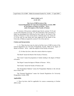 Legal Notice 123 of 2009 – Malta Government Gazette No....  EDUCATION ACT (CAP. 327)