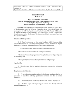 Legal Notice 470 of 2011 – Malta Government Gazette No.... Amended by: