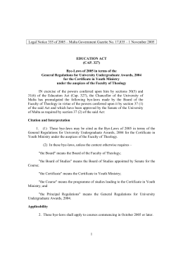Legal Notice 355 of 2005 – Malta Government Gazette No....  EDUCATION ACT (CAP. 327)