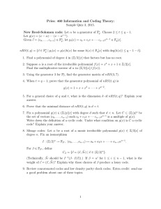 Pries: 460 Information and Coding Theory: Sample Quiz 3, 2015.