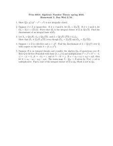 Pries 605A Algebraic Number Theory spring 2016. − x