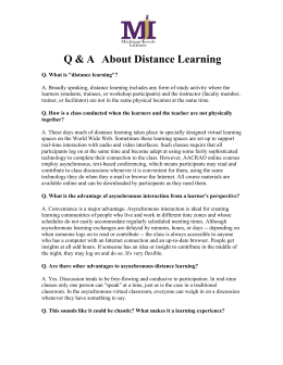 Q & A   About Distance Learning