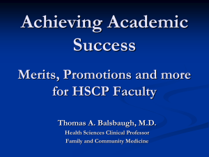 Achieving Academic Success  Merits, Promotions and more