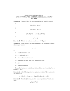 HOMEWORK 1 FOR MATH 281 INTRODUCTION TO MATHEMATICAL REASONING Fall 2008