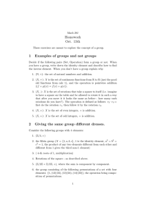 Homework Oct. 13th 1 Examples of groups and not groups