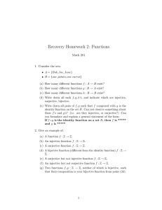 Recovery Homework 2: Functions Math 281