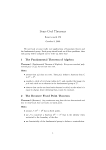 Some Cool Theorems Renzo's math 570 October 9, 2009