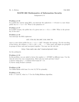 MATH 360 Mathematics of Information Security
