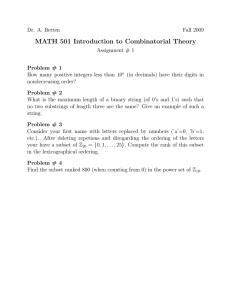 MATH 501 Introduction to Combinatorial Theory
