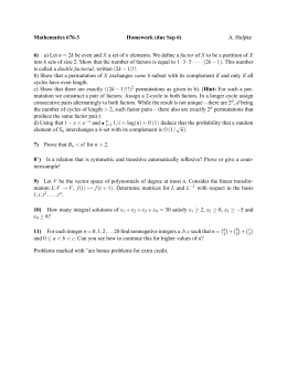 Mathematics 676-3 Homework (due Sep 6) 6) A. Hulpke