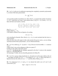 Mathematics 501 Homework (due Nov 15) 53) A. Hulpke